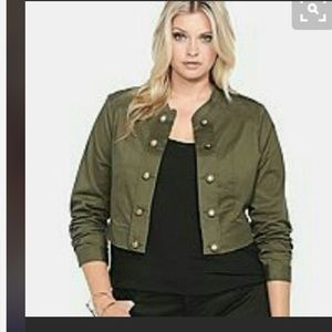 Torrid green military crop jacket 3